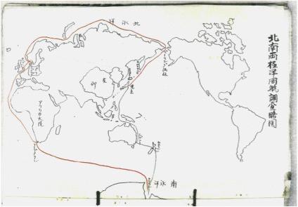 図2. 快鳳丸北南両極洋周航調査略図